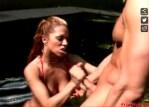 redhead big tits porn star outdoor park