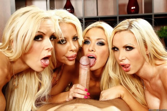 Courtney Taylor, Nikki Benz, Nina Elle, Summer Brielle office 4 blondes orgy 06