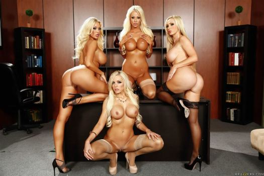 Courtney Taylor, Nikki Benz, Nina Elle, Summer Brielle office 4 blondes orgy 07