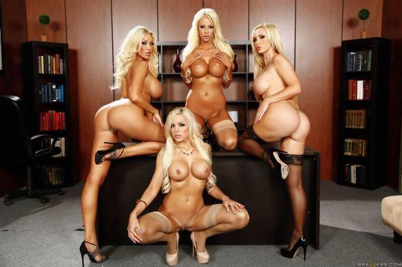 Courtney Taylor, Nikki Benz, Nina Elle, Summer Brielle office 4 blondes orgy 07