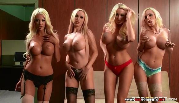 Courtney Taylor, Nikki Benz, Nina Elle, Summer Brielle office 4 blondes orgy 09