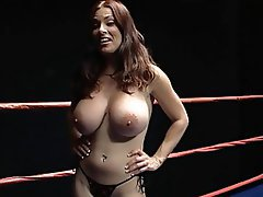 Goldie Blair big tits topless ring wrestling