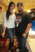 Jasmin St Claire posing with a fan