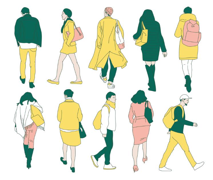 歩く姿の色んなイラスト素材