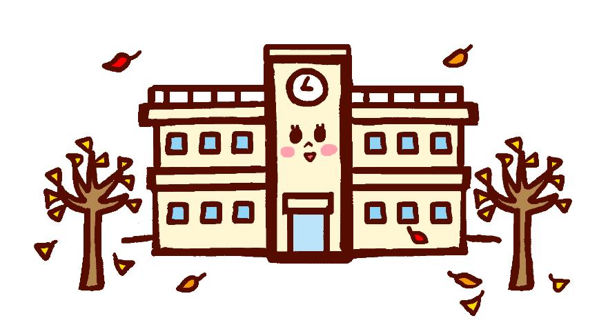 学校とイチョウの木