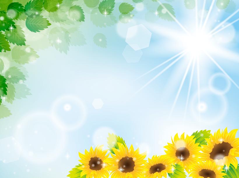 キラキラ太陽とひまわり・新緑の夏のイメージのイラストフレーム枠