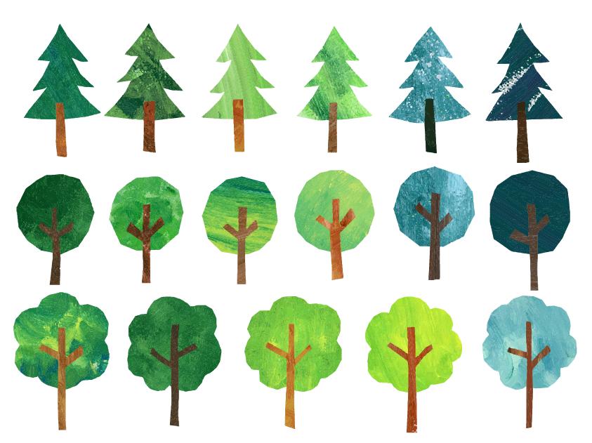 切り絵風木のセット(植物、木、森、緑、かわいい、手書き)