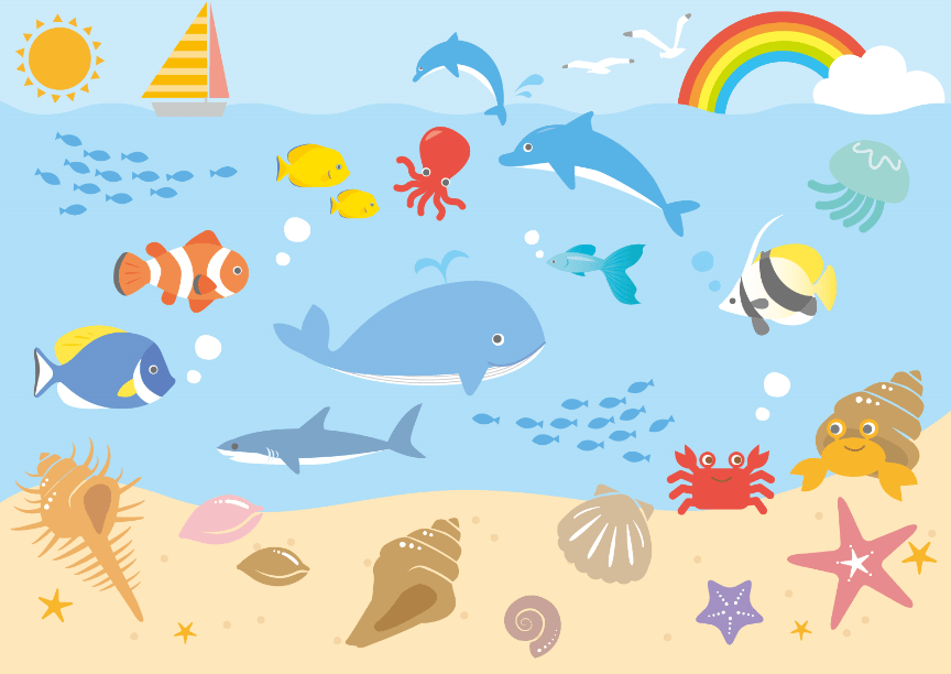 海中と砂浜の海の生き物セット(熱帯魚、ヒトデ、クマノミ、ほね貝、まき貝、水中、砂浜、水族館、クジラ、イルカ、タコ、虹、雲、入道雲、太陽、ヨット、船、サメ、鮫、貝、ヤドカリ、クラゲ、カモメ、グッピー、ホタテ)