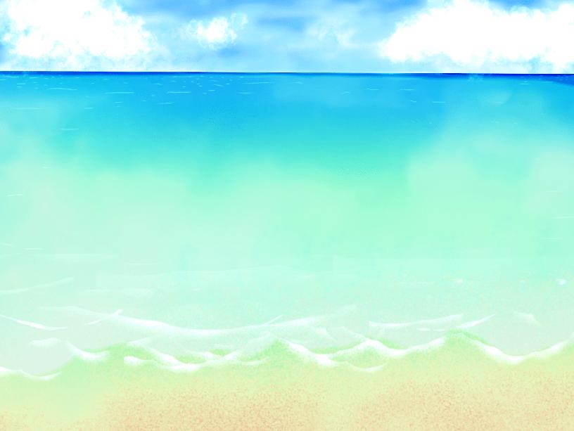 水彩手書き風海と砂浜の背景イラスト(海、砂浜、波、雲)