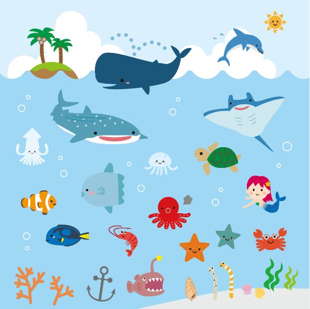 かわいい海の生き物たち(ジンベイザメ、クジラ、イルカ、島、ヤシの木、入道雲、マンタ、エイ、マンボウ、クマノミ、エビ、タコ、クラゲ、人魚、ヒトデ、カニ、チンアナゴ、サンゴ、ナンヨウハギ、ウミガメ)