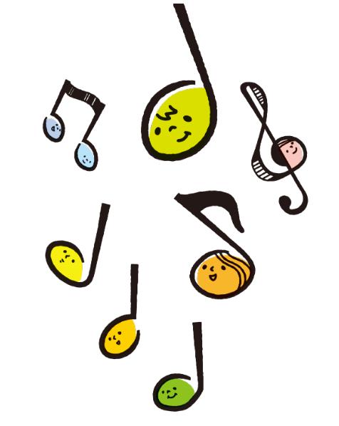かわいい音符さんたちのイラスト(音符、音楽、カラフル、八分音符、四分音符、ト音記号、顔)