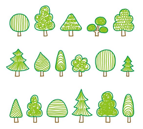 いろんな手描きの木のセット(木、手描き、緑、ツリー、森林、森、かわいい、自然、樹、林、木々)