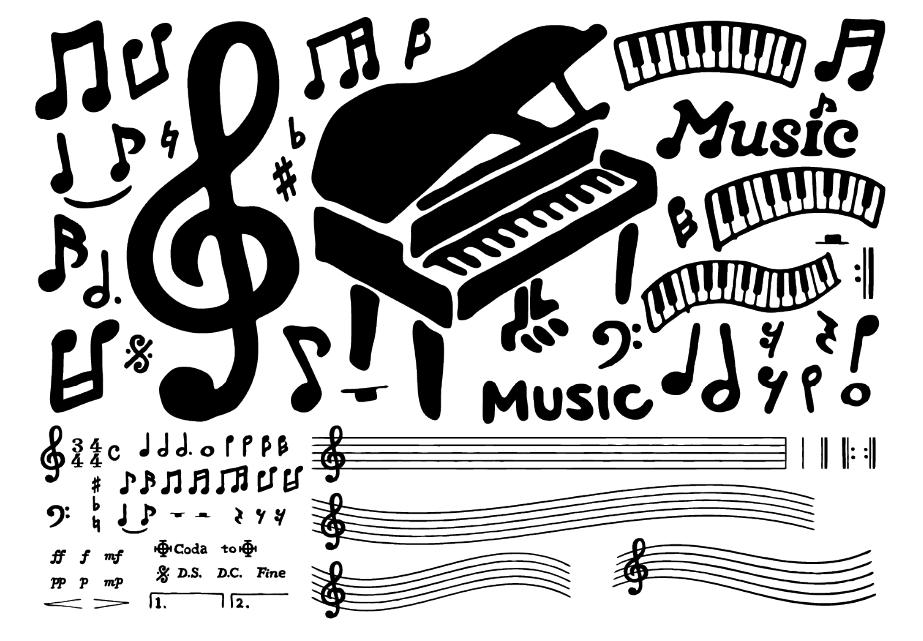 手描きペン画の音符セット(ピアノ、音符、ト音記号、楽譜、ヘ音記号、4分音符、8分音符、シャープ、フラット、全音符、休符、メゾピアノ、ピアニッシモ、フォルテッシモ)