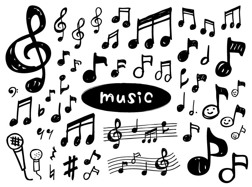 ラフな音符のイラスト素材(手書き、音符、かわいい、シルエット、音楽、ラフ、マイク、楽譜、音)