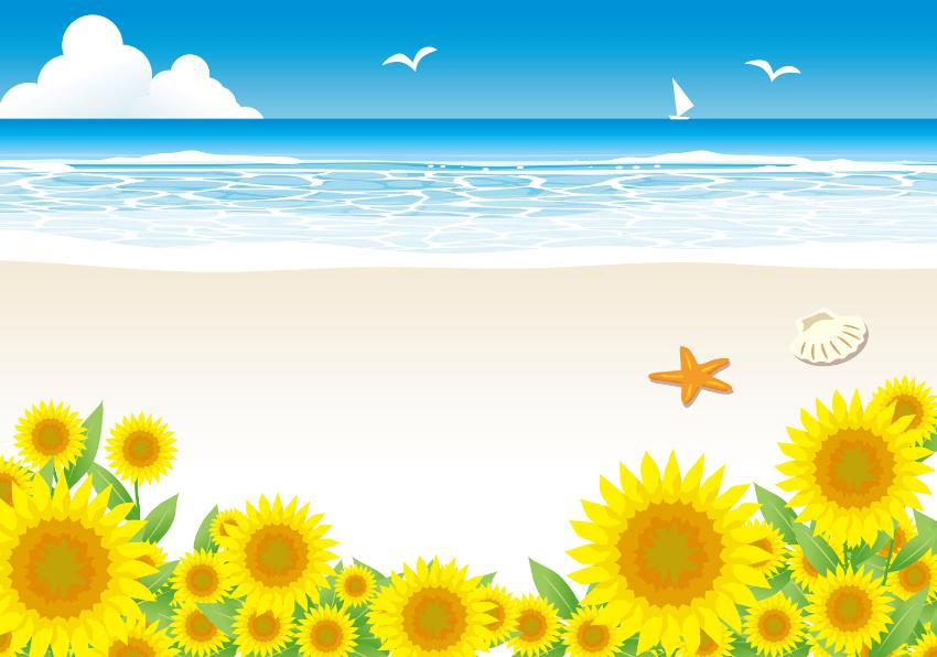 砂浜とひまわりの背景イラスト素材(砂浜、海、ひまわり、水平線、ビーチ、波、さざ波、かもめ、入道雲、ヨット、貝殻)