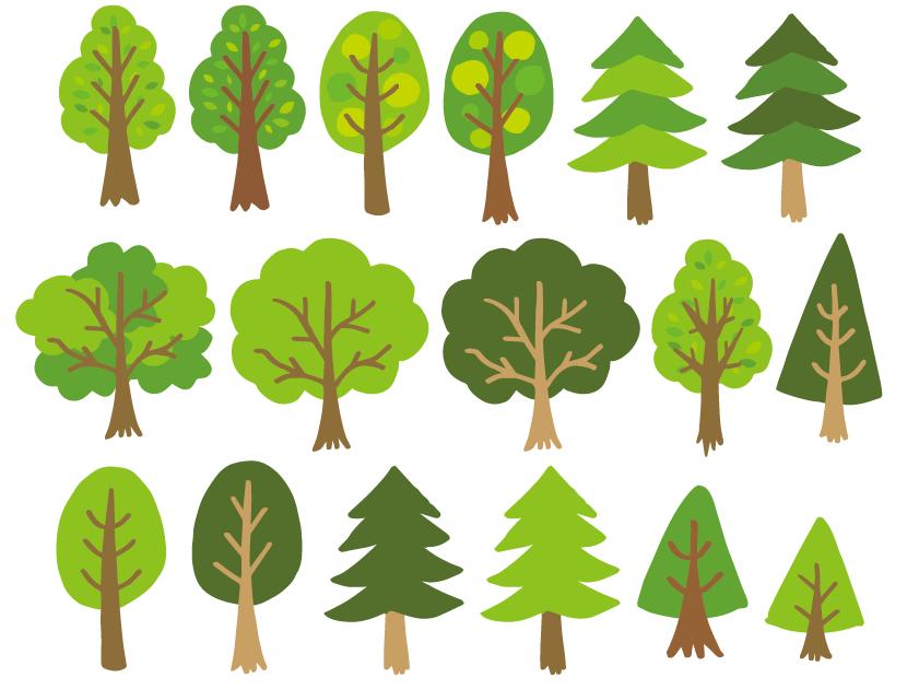 デフォルメ調木の素材セット(木、樹木、森、林、森林、自然、緑)