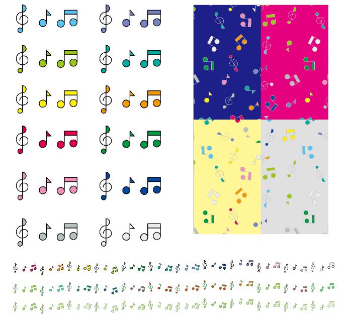 カラフルな音符や記号のパターンやブラシセット(音符、トーン記号、カラフル、パターン、ブラシ、音楽)