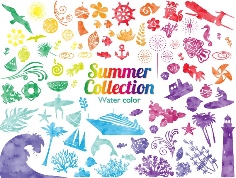 夏の水彩風カラフルシルエットイラスト(金魚、シーサー、沖縄、ハイビスカス、植物、花、飾り、サンゴ、貝、魚、ヤシの木、サーフィン、アイコン、サーファー、熱帯魚、トロピカル)