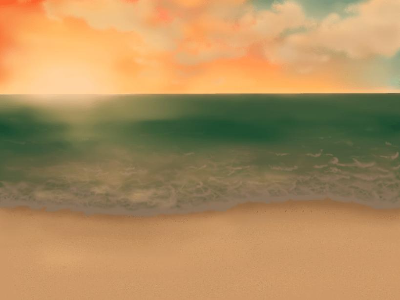 夕日の沈む海(海、夕日、夕焼け、砂浜、海岸)