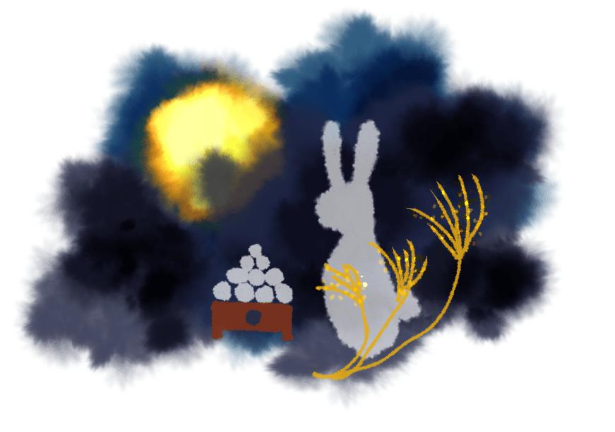 切り絵風お月見イラスト(お月見、中秋の名月、満月、うさぎ、団子、ススキ)