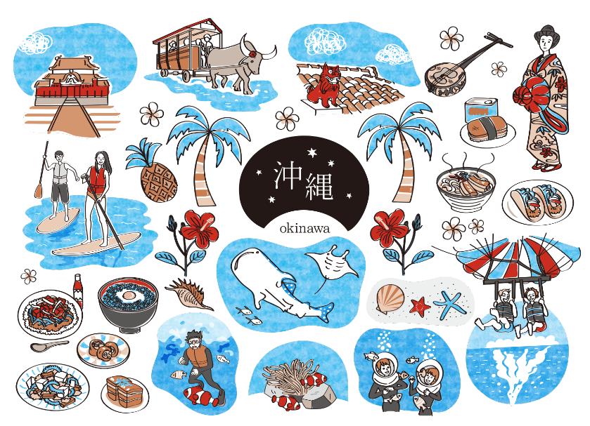 沖縄観光のイラスト素材(美ら海水族館、首里城、ジンベイザメ、水牛車、シーサー、三線、琉球衣装、ヤシの木、パイナップル、ハイビスカス、ソーキそば、タコス、ゴーヤチャンプル、海ぶどう丼、タコライス、ラフテー、てびち、スパム、パラーセーリング、スノーケリング)