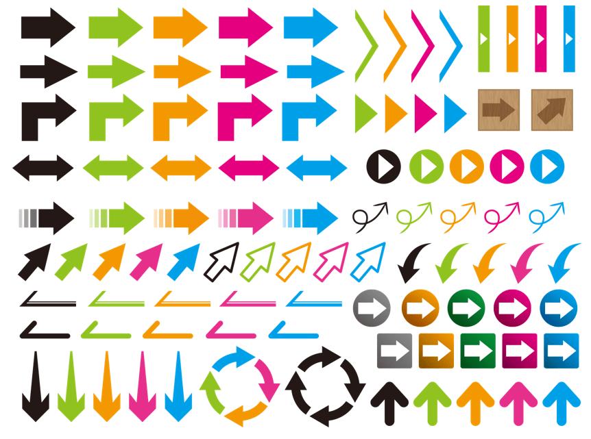 矢印素材(黒、オレンジ、ピンク、水色、緑、ブルー、グリーン、丸、四角、三角)