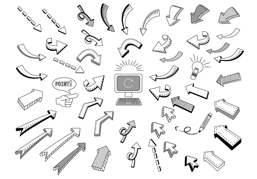 手描き矢印モノクロバージョン(矢印、手描き、モノクロ、白黒、セット、パソコン、電球、鉛筆、点線、上昇、下降、アイコン)