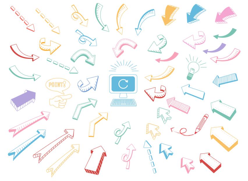 手描き矢印いろいろ(カラフル、パソコン、鉛筆、電球、上昇、下降、かわいい、ポイント、手描き、イラスト、キーボード、アイコン)