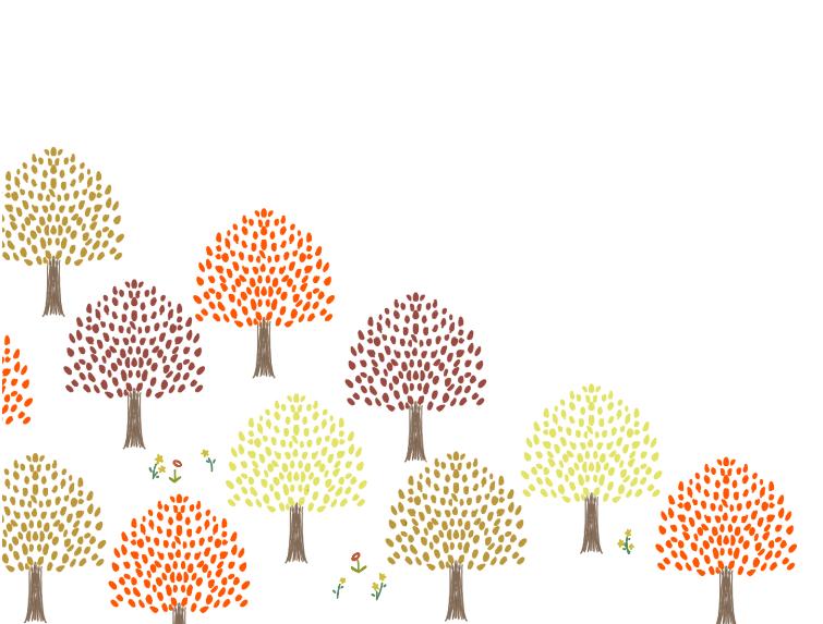 広葉樹林の森のカード(森、林、木、花、ナチュラル、北欧、手描き、絵本、秋、紅葉、広葉樹)