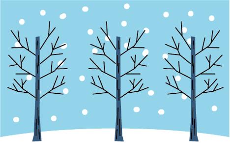 枯れ木と雪景色(雪景色、木、冬、植物、街路樹、森、雪、降雪、枝、枯れ木、季節のアイコン、アイコン、積雪、森林、手描き風、ほっこり、かわいい)