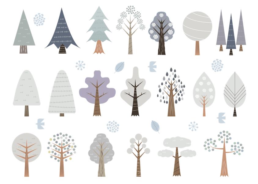 北欧風木のセット(木、植物、冬、森林、樹木、北欧、森、林、おしゃれ、鳥、かわいい、レトロ)