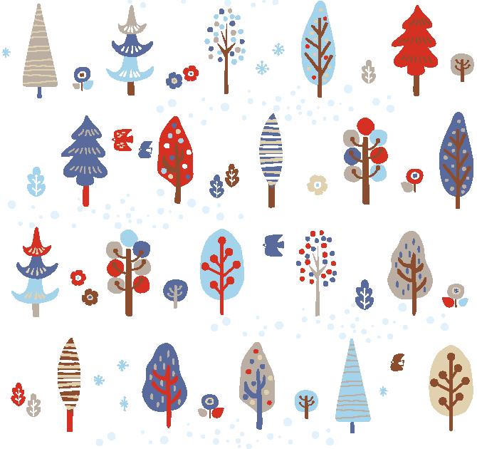 北欧風冬の手描き風の色んな冬の木々(冬、シームレス、かわいい、おしゃれ、北欧、北欧風、水彩、水彩画、ツリー、森、林、モダン、レトロ)