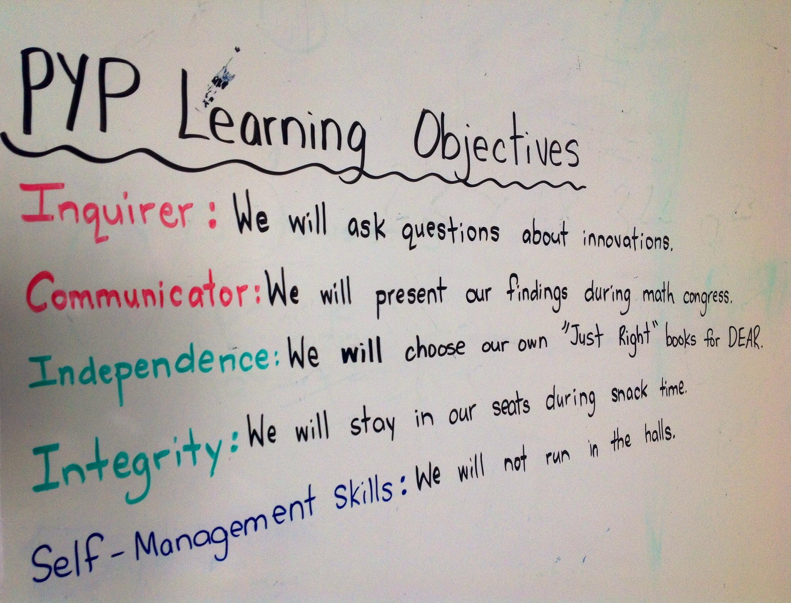 Pyp Daily Learning Objectives