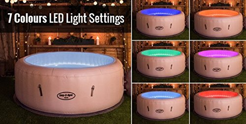 Lay-Z-Spa Paris inflatable hot tub LED light show