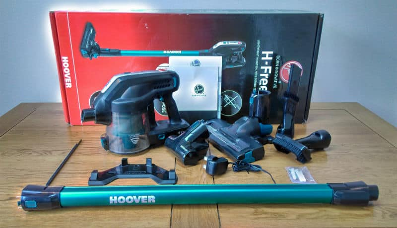 The Hoover HF18CPT Stick Vacuum comes with lots of attachments which include the standard rotating brush, a smaller power pet brush, crevice and brush tool and fabric cleaner