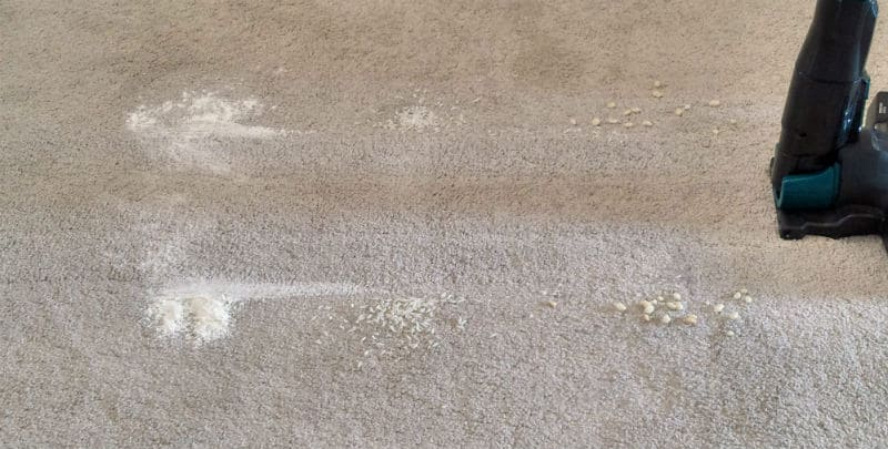 Hoover H FREE HFCPT test on carpet after first pass