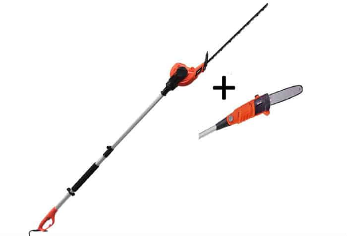eSkde Electric Long Reach Telescopic Pole Chainsaw Pruner Hedge Trimmer Kit Review