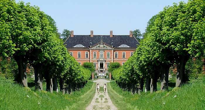 Die Feston-Lindenallee von Schloss Bothmer in Mecklenburg.