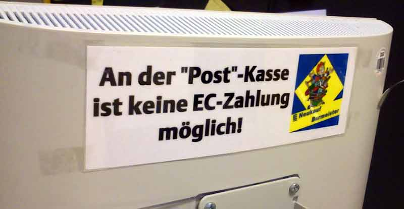 """Die """"Post""""-Kasse ist tatsächlich die Postkasse. Warum also die Gänsefüßchen?"""