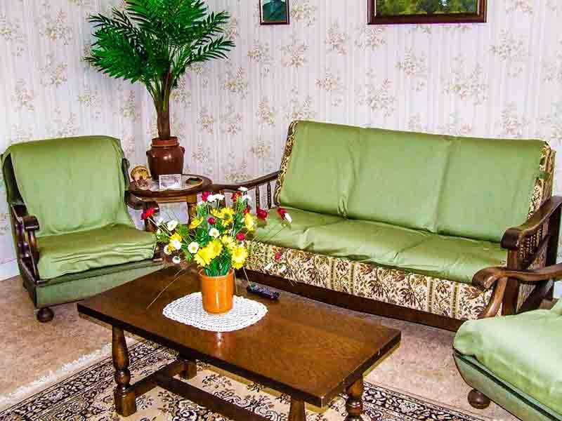 Der Salon, ganz und gar uncharmant und mit giftgrüner Gummipalme.
