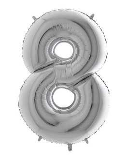 Palloncino mylar argento 1 mt Numero 8