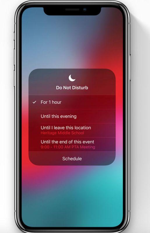 iOS 12 fecha de lanzamiento y características nuevas: No Molestar Durante la hora de Acostarse