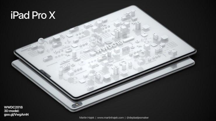 el Nuevo iPad Pro de 2018, fecha de la publicación de rumores: Martin Hajek iPad Pro X concepto de ilustración