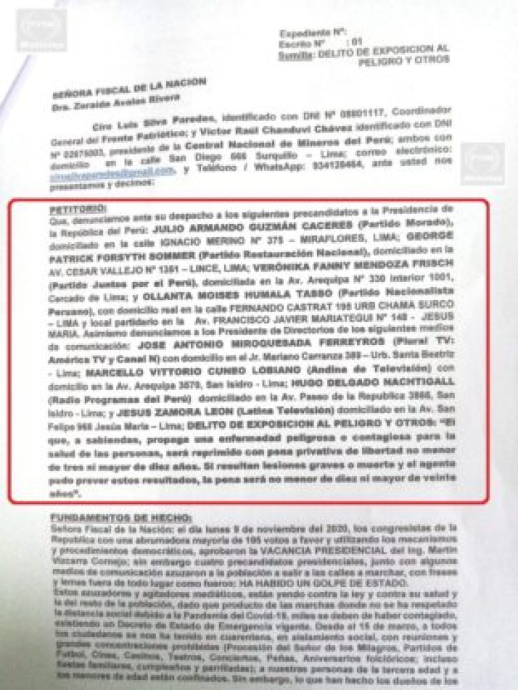 Denuncia Penal contra dueños de Medios 2
