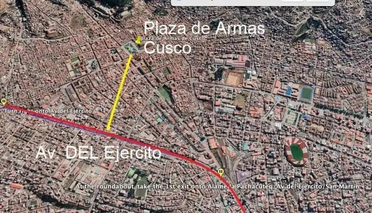 Plaza de armas Cusco y Av del Ejercito