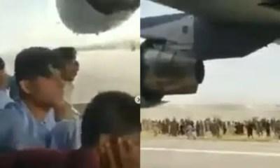 Video muestra a afganos tratando de aferrarse al fuselaje del avión estadounidense; Ver