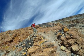The descent starts with solid rocks