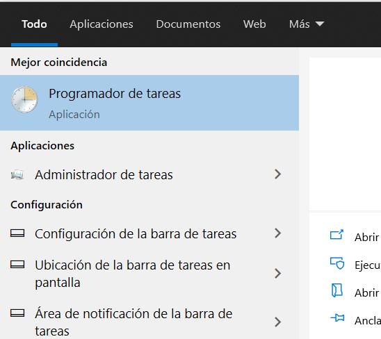 Abrir Programador de tareas de Windows