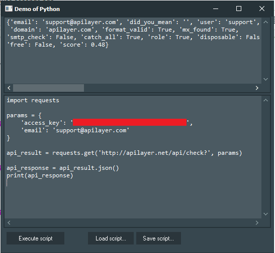 Learn To Build Python GUI For These Powerful REST Services Mailboxlayer example running with PythonGUI