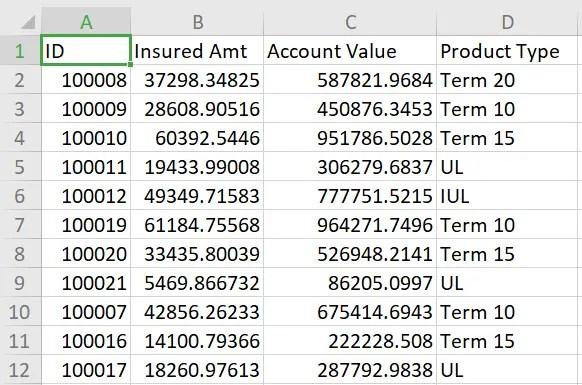 Example spreadsheet 2